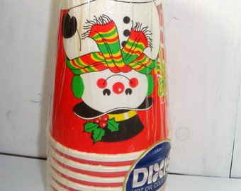 Vintage Set Christmas Dixie Cups, Snowman, Hot or Cold, 9 ounce, Set of 8, Set One (951-14)