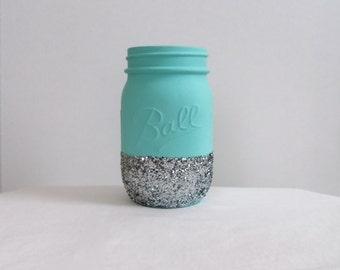 Jessica Catherine Blue + Silver Glitter Mason Jar