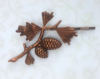 Pine Cone and Pine Tree Branch, Hair Pin, Bobby Pin, Woodland, Rustic, Forest, Copper, Rose Gold, Silver, Wedding, Bridal Hair, Forest