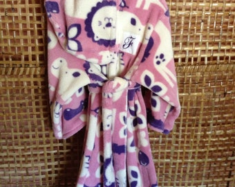 Robe, pink/purple/cream safai animal cozy fleece, handmade, cuddle soft fleece, personalized, hooded toddler robe, Product ID# G-048