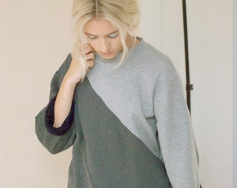 Concrete Wool and sweatshirt Asymmetric oversize Jumper SAMPLE SALE