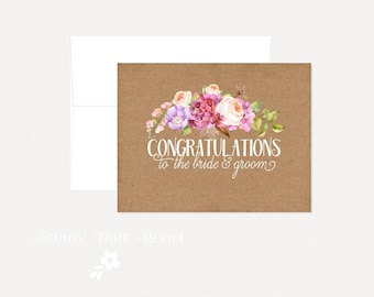 Greeting cards etsy ca rustic floral wedding card congratulations engagement card anniversary card wedding card m4hsunfo Image collections