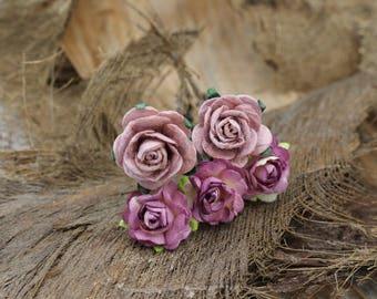 Set of 5 Small Purple Roses, Mulberry Paper Flower Hair Pins , Bridal Hair Pins, Hair Bobby Pins,U pins,Prom,Bridal Hair Accessories (FL350)