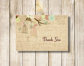 Burlap Thank You Cards, Birdcage Thank You Note Card, Printable Rustic Thank You Card, DIY Thank You Note, Baby Shower Thank You Card