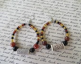 Natural Tones Beaded Hoop Earrings With Raku And Agate Beads