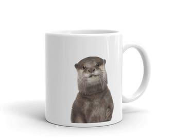 Otter Mug, Nursery Art Print Mug, Nursery decor, Cute Animal Mug, Picture Mug, Nautical Marine Sea Animal Decor, Ceramic Coffee Tea Mug Gift
