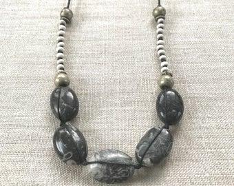 Fossil Jasper Beaded Linen Necklace