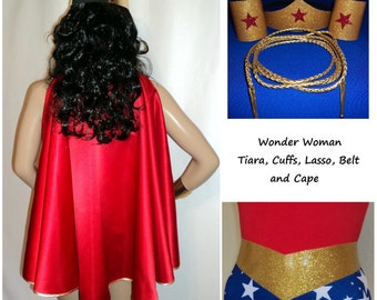 Wonder Woman Costume Accessories Set 6 items- Tiara, Cuffs,  Lasso, Belt, Loop,  Cape