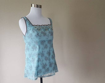 XL / Arianne / Camisole / Cami / Top / Pullover / Turquoise - Blue / Embellished Design / Extra Large