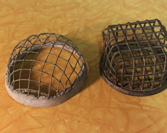 2 Metal Cage Flower Frogs, 1 - L.A. Dazey MFG., Co. Industrial Style Flower Frog, Green Floral Frogs, Garden Supplies