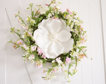"Cherry Blossom And Magnolia Pink Blush Wreath 20"" Wide - Blossom Mix and Twig Faux Home Decor Artificial"