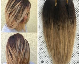 Full Head Dip dye Clip in Human Hair extensions Ombre 6 Pcs Dark brown to honey blonde