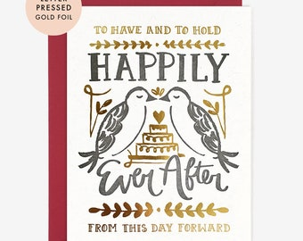 Happily Ever After Letterpress Gold Foil Wedding Card // Love Birds Vows Marriage Hand Lettering Minimalist Modern Whimsical Cake Engagement