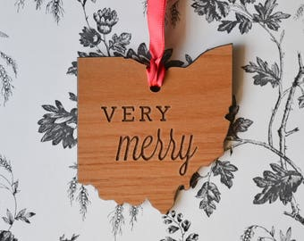 VERY MERRY Engraved Ohio Ornament