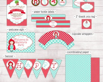 Little Red Riding Hood MINI Printable Party Collection (partial instant download)