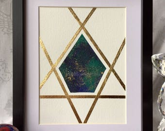 Teal, turquoise and ultramarine pentagon with gold splatter and gold leaf borders