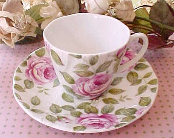 Beautiful English Bone China Demitasse Cup and Saucer-Cottage Rose