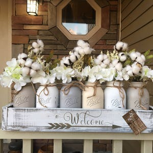 mason jar centerpiece, grey mason jars, cotton decor, cotton wreath, entry way centerpiece, cotton centerpiece, farmhouse centerpiece, jars