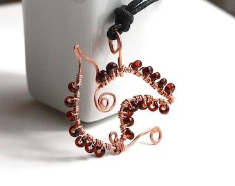 Bird Necklace, Soaring Bird Necklace, Copper Necklace, Nature Jewelry, Bird Pendant