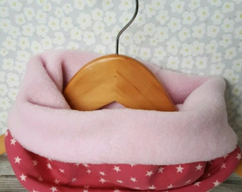 Children's snood, cosy cowl, pull on scarf, fleece snood, kids winter scarf, pull over neck warmer
