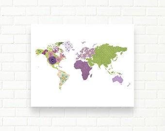 Patchwork world map poster etsy world map printable kids decor purple green nursery map instant download nursery gumiabroncs Gallery