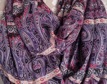 Long Paisley Scarf,  Rayon Scarf ,Infinity Scarf, Women's scarves, eternity scarf, handmade, accessories, Floral scarf, gift for her