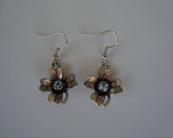 Silver and Blue Flower Earrings