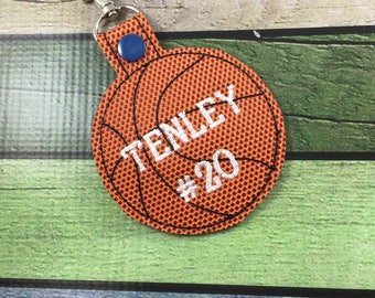 Personalized Basketball clip on bag tags - customized basketball baseball tennis volleyball or softball oversized keyfobs-custom sports tags