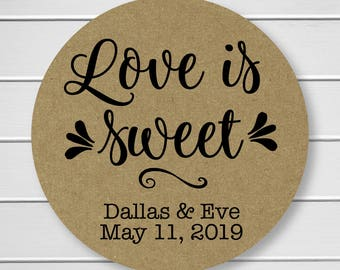Love is Sweet Wedding Stickers, Rustic Wedding Seals, Wedding Stickers, Kraft Wedding Stickers (#222-KR)