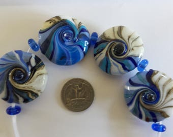 Handmade Lampwork Glass Beads, Blues and Ivory Beachy wave Lentils, OOAK, SRA, Set of 4 and 5 blue transparent spacer beads