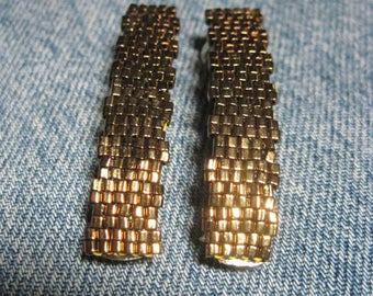 Bronze Metallic Toho 1.5 mm CUBE Beaded Solid Barrettes....set of 2 Small Size....hand made OOAK Original Design #1649h