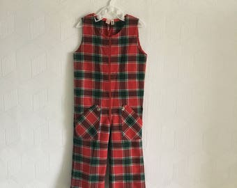 Vintage girls 1960's/1970's red and green tartan plaid jumpsuit, 18-24 months.