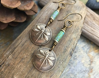 Dragonfly Earrings, Outlander Jewelry, Dragonfly Dangle Earrings, Czech Glass Beads, Pagan Jewelry, Bugs Insects, Mother's Day Gifts, Bronze