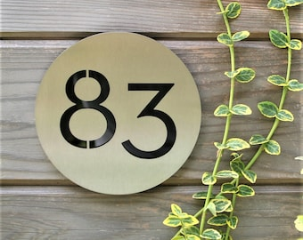 Modern House Number Plaque Circle -  Neutra Font
