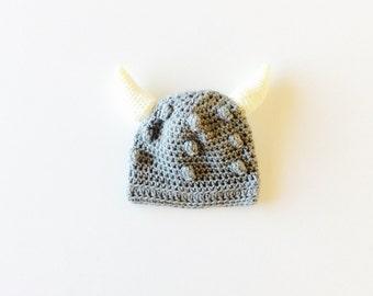 Baby Viking hat, kids Viking hat, crochet Viking hat, Viking costume, gray/bone colors, custom sizes from baby to 6t