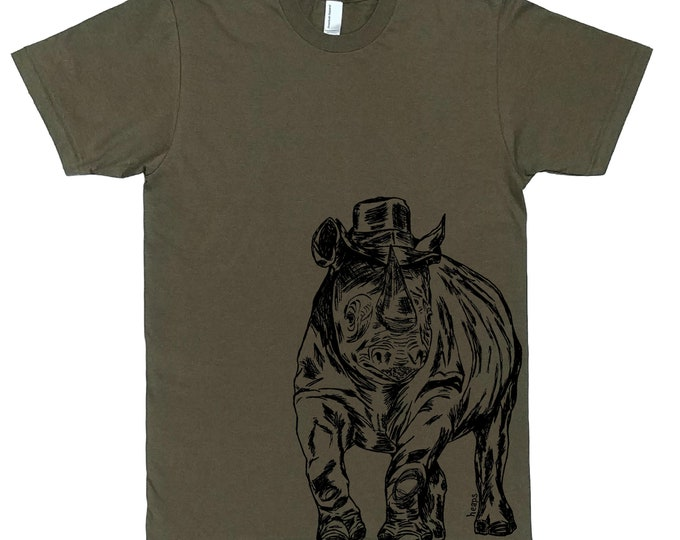 Mens T Shirt - Rhino T Shirt - Funny T Shirts - Screen Printed Tees - Graphical Tees - African Tee - Mens Brown Tee Shirts  S M L XL