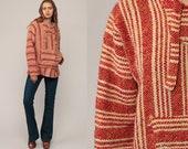 Drug Rug Hoodie Jacket Baja Pullover MEXICAN Jerga Hippie Boho Hooded Sweatshirt Ethnic Vintage Blanket Red Stripe Bohemian Medium