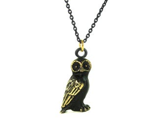 "Barn Owl Pendant - Large - Walter Bosse ""Black Gold"" Bronze Necklace - 26"" Chain"