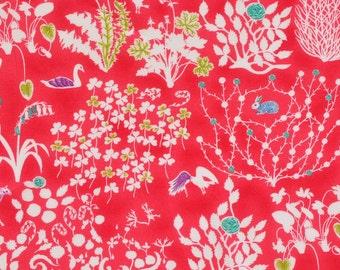Liberty fabric Tana Lawn Yoshie  scrap  - 5'' x10''  - red