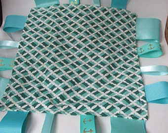 Turquoise Baby Crinkle Tag Toy
