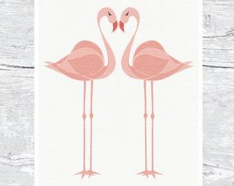 Flamingo Wall Art Print | Tropical Birds
