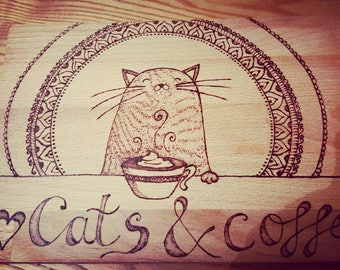Cats & coffee pyrography chopping board