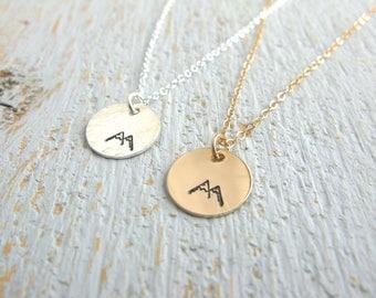 Mountain Necklace, Silver Mountain Necklace, Gold Mountain Necklace, Hiking Necklace, Nature Necklace