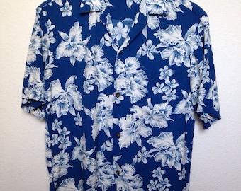 Vintage blue floral Aloha Hawaiian shirt, plumeria hibiscus print, blue white tropical print, retro tiki luau shirt, men small, women's M L