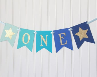 Gold glitter Blue Navy Ombre Star ONE High Chair Happy Birthday Banner/ Girl Prince Party/ Party Decorations/1st birthday/cursive baby boy