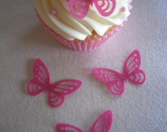 30 Edible Wafer Butterflies Cake Cupcake Toppers- Hot Pink - Precut