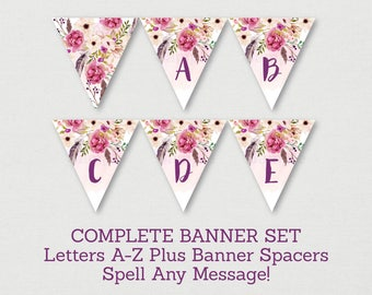 Boho Floral Baby Shower Banner / Boho Baby Shower / Watercolor Floral / Watercolor Feathers / Letters A-Z / Printable INSTANT DOWNLOAD A182