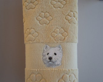 West Highland Terrier paw print hand towel