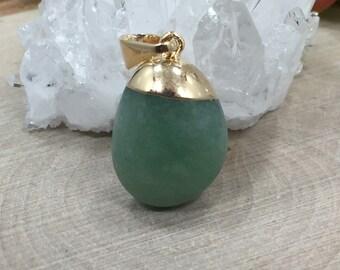 Tumbled Stone Pendant, Agate Pendant, Polished Tumbled Stone Pendant, 24K Gold Plated Pendant, PG2624
