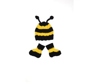 Hand Knitted Bumble Bee Baby Costume Set, Hat and Socks for Photography or Photo Shoot